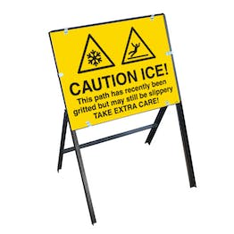 Caution Ice! This Path...Gritted But May Still Be Slippery Take Extra Care! with Stanchion Frame