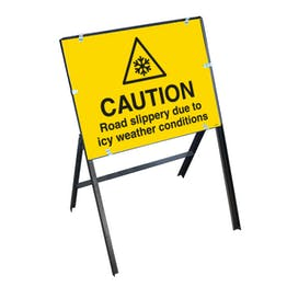 Caution Road Slippery Due To Icy Weather Conditions with Stanchion Frame