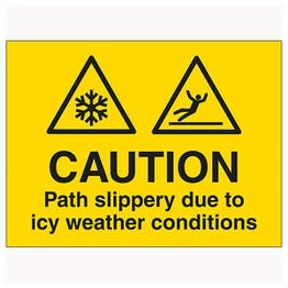 Caution Path Slippery Due To Icy Weather Conditions