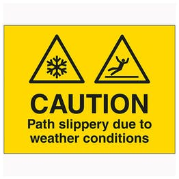 Caution Path Slippery Due To Weather Conditions