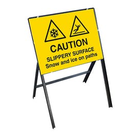 Caution Slippery Surface Snow and Ice On Paths with Stanchion Frame