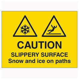 Caution Slippery Surface Snow and Ice On Paths