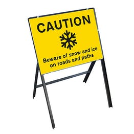 Caution Slippery Surface Beware Of Snow and Ice On Roads and Paths with Stanchion Frame