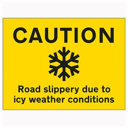 Caution Road Slippery Due To Icy Weather Conditions - Landscape