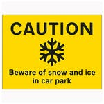 Caution Beware Of Snow and Ice In Car Park