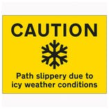 Caution Path Slippery Due To Icy Weather Conditions - Landscape