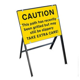 Caution This Path Has...Gritted But May Still Be Slippery Take Extra Care! with Stanchion Frame