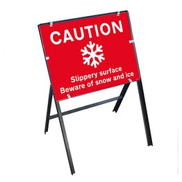 Caution Slippery Surface Beware...Snow and Ice with Stanchion Frame