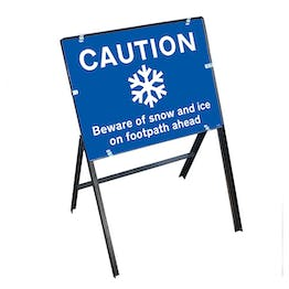 Caution Beware Snow and Ice On Footpath Ahead with Stanchion Frame