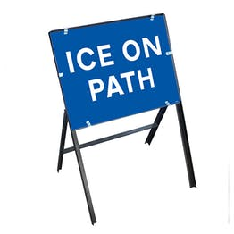 Ice On Path with Stanchion Frame
