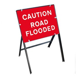 Caution Road Flooded with Stanchion Frame