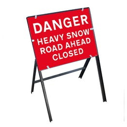 Danger Heavy Snow / Road ahead Closed with Stanchion Frame