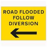 Road Flooded Follow Diversion Arrow Left