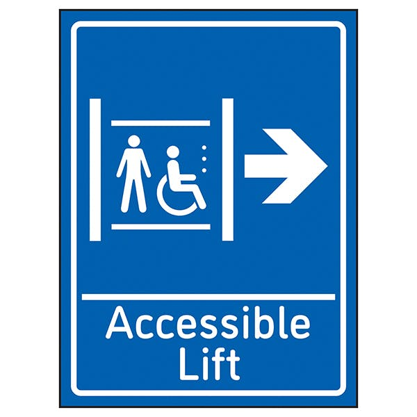 Accessible Lift Arrow Right Blue