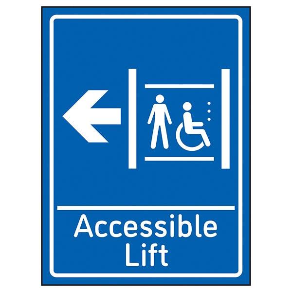 Accessible Lift Arrow Left Blue