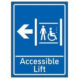 Accessible Lift Arrow Left Blue