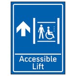 Accessible Lift Arrow Up Blue