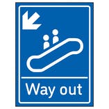 Way Out Arrow Down Left Blue