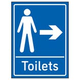 Mens Toilets Arrow Right Blue