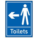 Mens Toilets Arrow Left Blue