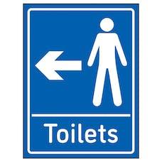 Mens Toilets Arrow Left Blue