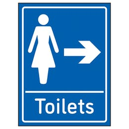 Womens Toilets Arrow Right Blue