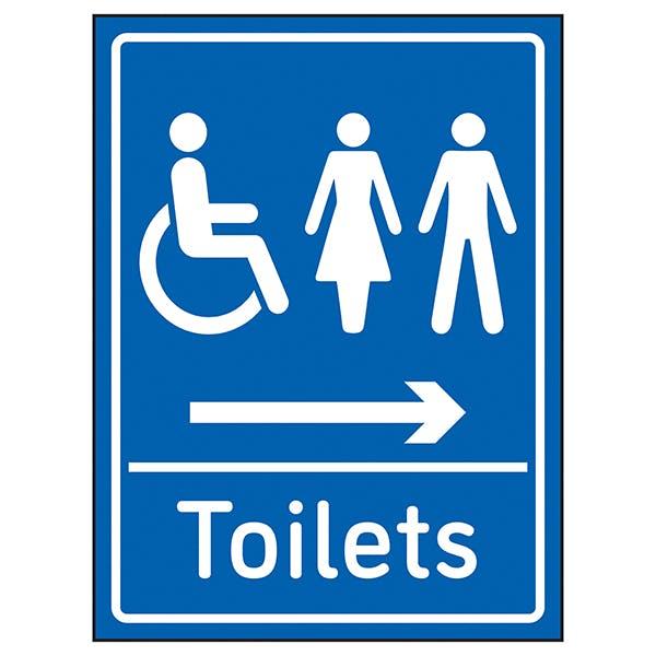 Mixed Toilets Arrow Right Blue