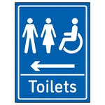 Mixed Toilets Arrow Left Blue