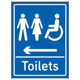 Mixed Toilets Arrow Left Blue