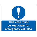 Caution This Area Must Be Kept Clear For Emergency Vehicles