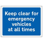 Keep Clear For Emergency Vehicles At All Times