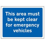 This Area Must Be Kept Clear For Emergency Vehicles
