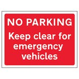 No Parking Keep Clear For Emergency Vehicles