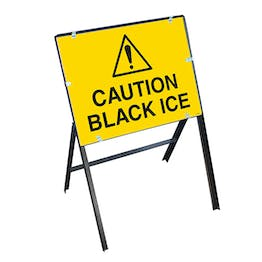Caution Black Ice with Stanchion Frame