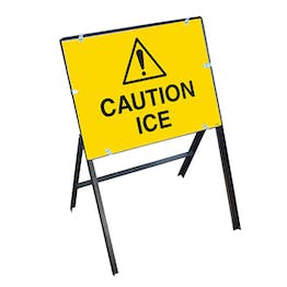 Caution Ice with Stanchion Frame
