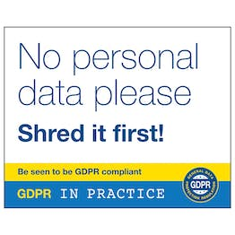 GDPR Sticker - No Personal Data Please Shred It First!