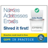 GDPR Sticker - Names, Addresses Emails Shred It First!