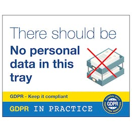 GDPR Sticker - No Personal Data In This Tray