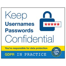 GDPR Sticker - Keep Usernames And Passwords Confidental