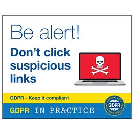GDPR Sticker - Be Alert Don't Click Suspicious Links