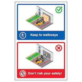 Keep To Walkways / Don't Risk Your Safety!