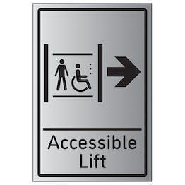 Accessible Lift Arrow Right - Aluminium Effect