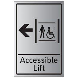 Accessible Lift Arrow Left - Aluminium Effect