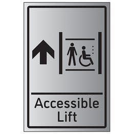 Accessible Lift Arrow Up - Aluminium Effect