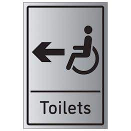Disabled Toilets Arrow Left - Aluminium Effect