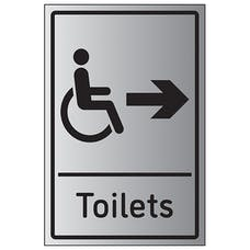 Disabled Toilets Arrow Right - Aluminium Effect