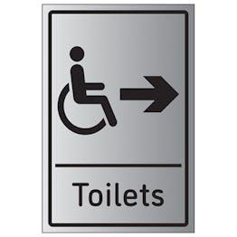 Disabled Toilets Arrow Right - Aluminium Effect