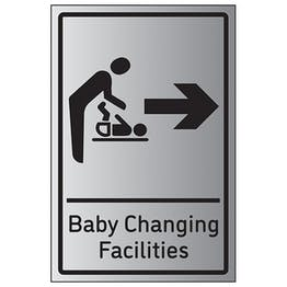 Baby Changing Facilities Arrow Right - Aluminium Effect