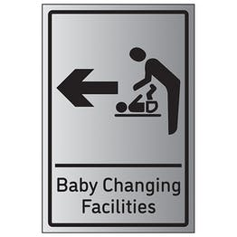 Baby Changing Facilities Arrow Left - Aluminium Effect