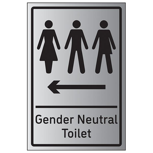 Gender Neutral Toilet Arrow Left - Aluminium Effect
